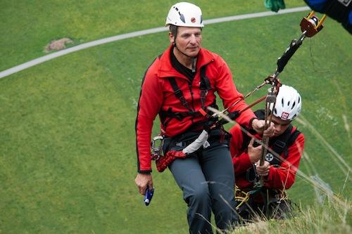 Übung der Bergretter beim Kletttersteig in Burgstein