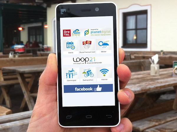 """So stellt sich der kostenlose Internetzugang """"Oetztal Free"""" am Smartphone dar. Internet- & Facebookzugang eh klar, dazu noch ortsbezogene Informationen. Foto: Loop 21"""